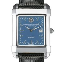 WashU Men's Steel Quad Blue Dial with Leather