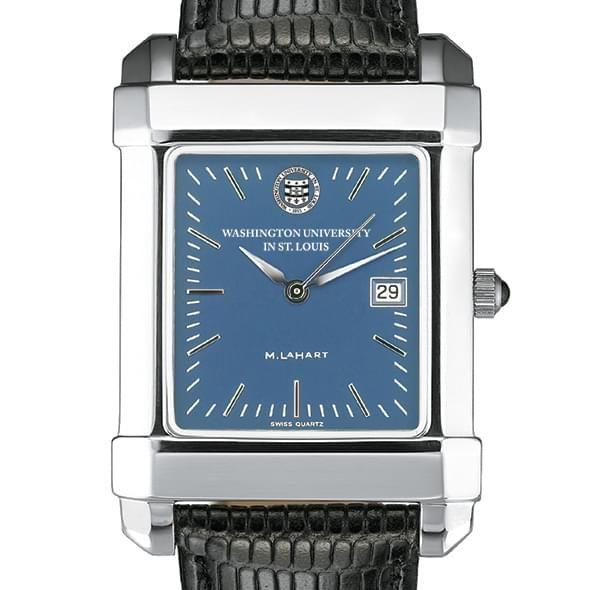 WUSTL Men's Blue Quad Watch with Leather Strap