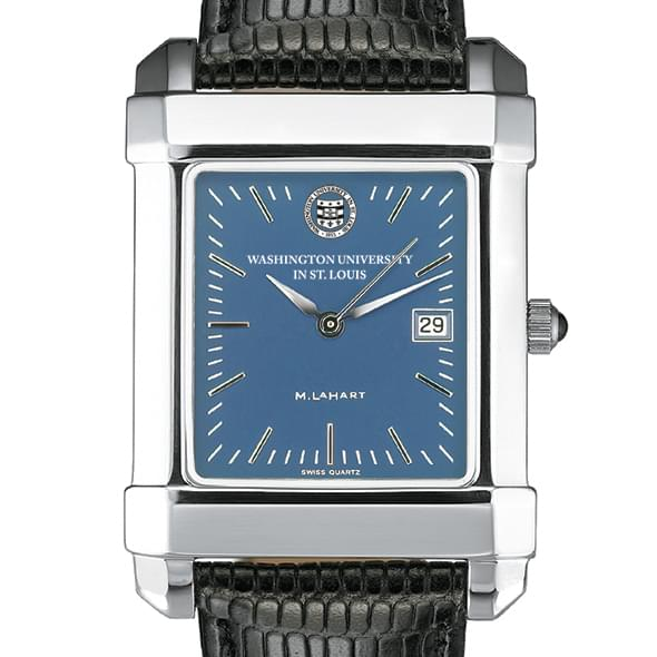 WUSTL Men's Blue Quad Watch with Leather Strap