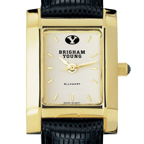 Brigham Young University Women's Gold Quad with Leather Strap