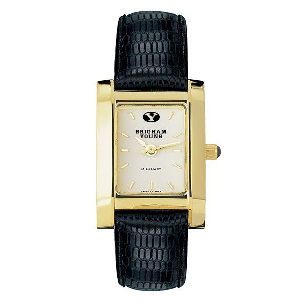 Brigham Young University Women's Gold Quad with Leather Strap - Image 2