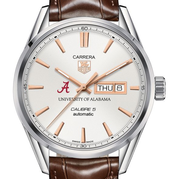 University of Alabama Men's TAG Heuer Day/Date Carrera with Silver Dial & Strap