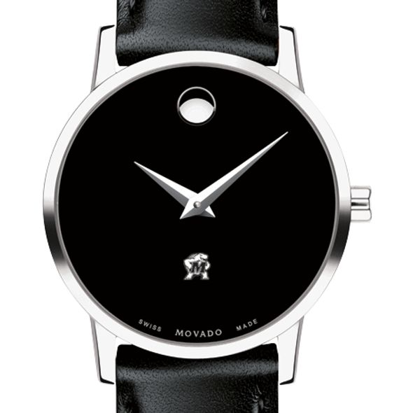 University of Maryland Women's Movado Museum with Leather Strap - Image 1