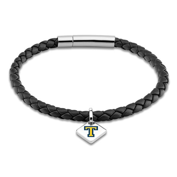 Trinity College Leather Bracelet with Sterling Silver Tag - Black