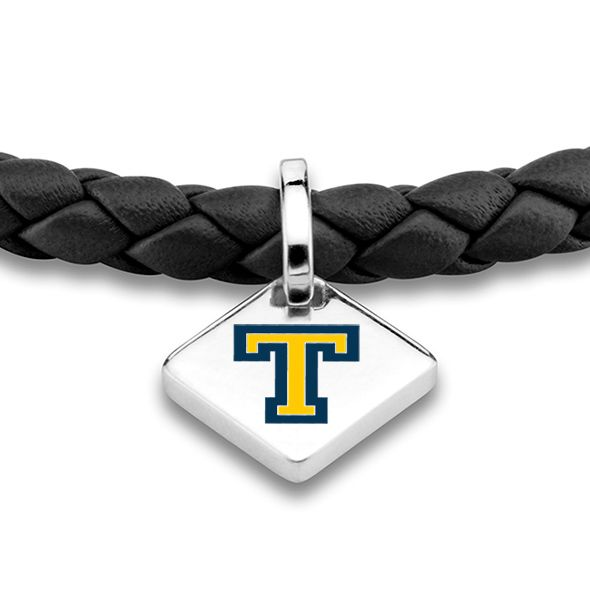 Trinity College Leather Bracelet with Sterling Silver Tag - Black - Image 2