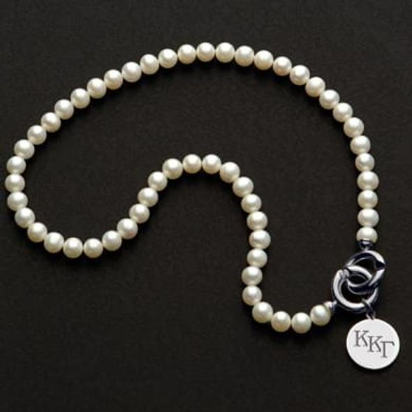 Kappa Kappa Gamma Pearl Necklace with Sterling Silver Charm