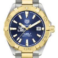 LSU Men's TAG Heuer Automatic Two-Tone Aquaracer with Blue Dial
