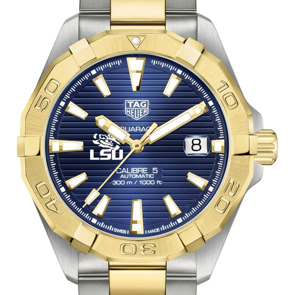LSU Men's TAG Heuer Automatic Two-Tone Aquaracer with Blue Dial - Image 1