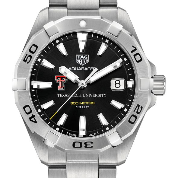 Texas Tech Men's TAG Heuer Steel Aquaracer with Black Dial