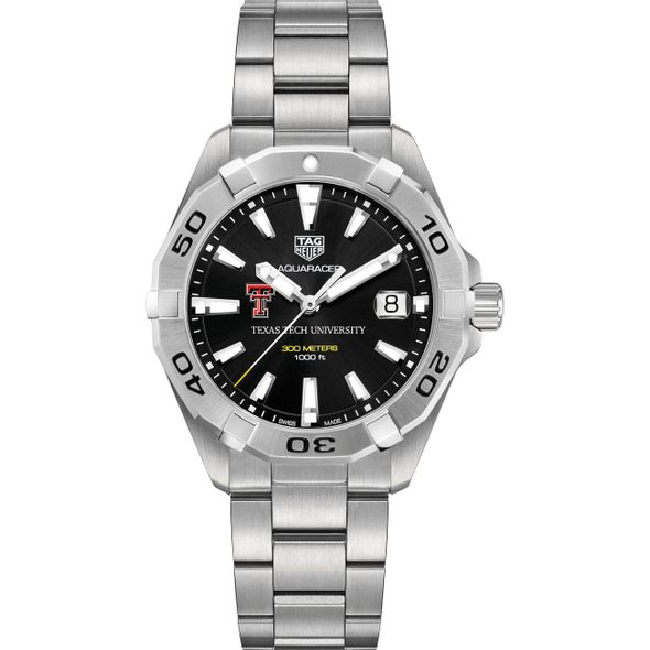 Texas Tech Men's TAG Heuer Steel Aquaracer with Black Dial - Image 2