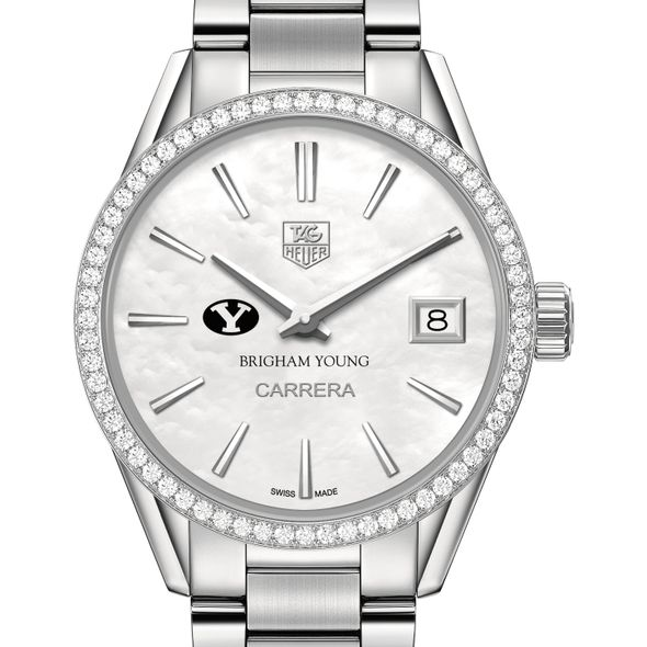 Brigham Young University Women's TAG Heuer Steel Carrera with MOP Dial & Diamond Bezel