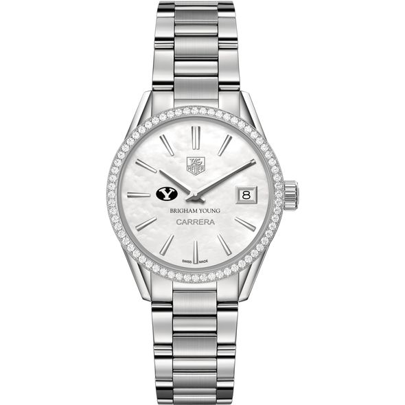 Brigham Young University Women's TAG Heuer Steel Carrera with MOP Dial & Diamond Bezel - Image 2