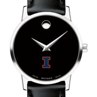 University of Illinois Women's Movado Museum with Leather Strap