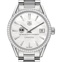 Michigan State University Women's TAG Heuer Steel Carrera with MOP Dial & Diamond Bezel