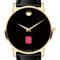 North Carolina State Men's Movado Gold Museum Classic Leather