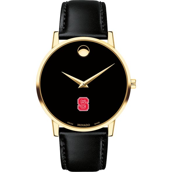 North Carolina State Men's Movado Gold Museum Classic Leather - Image 2