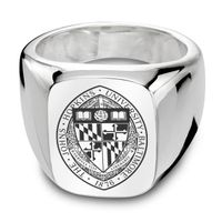 Johns Hopkins University Sterling Silver Rectangular Cushion Ring
