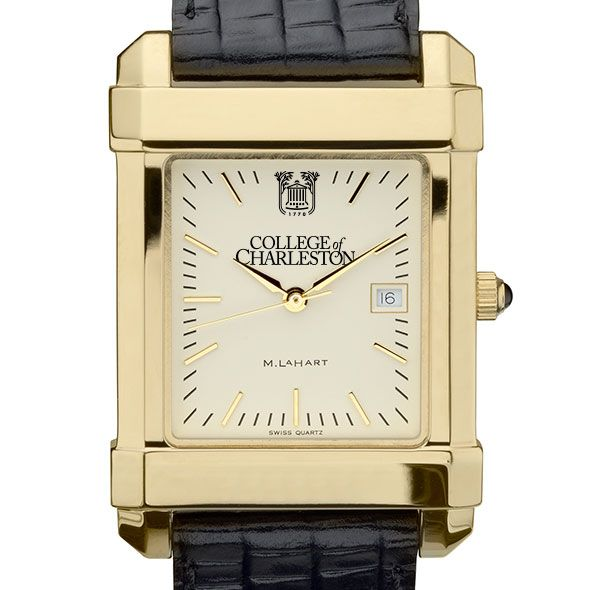College of Charleston Men's Gold Quad with Leather Strap
