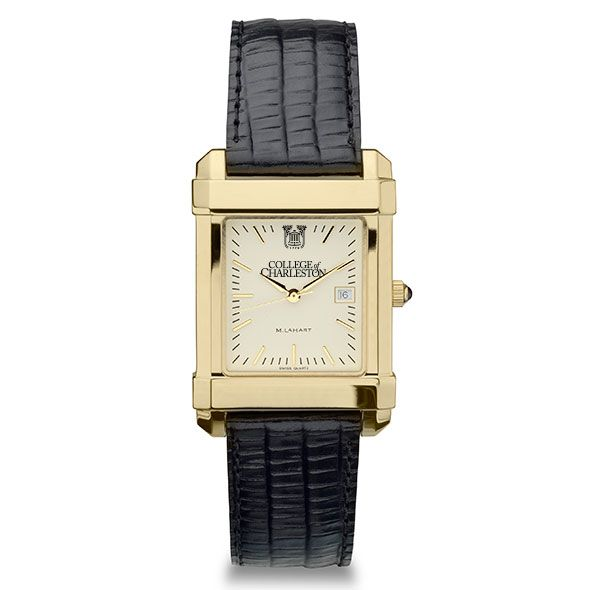 College of Charleston Men's Gold Quad with Leather Strap - Image 2