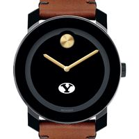 Brigham Young University Men's Movado BOLD with Brown Leather Strap