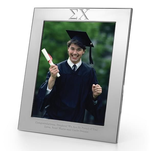 Sigma Chi Polished Pewter 8x10 Picture Frame - Image 1