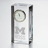 Michigan Ross Tall Glass Desk Clock by Simon Pearce