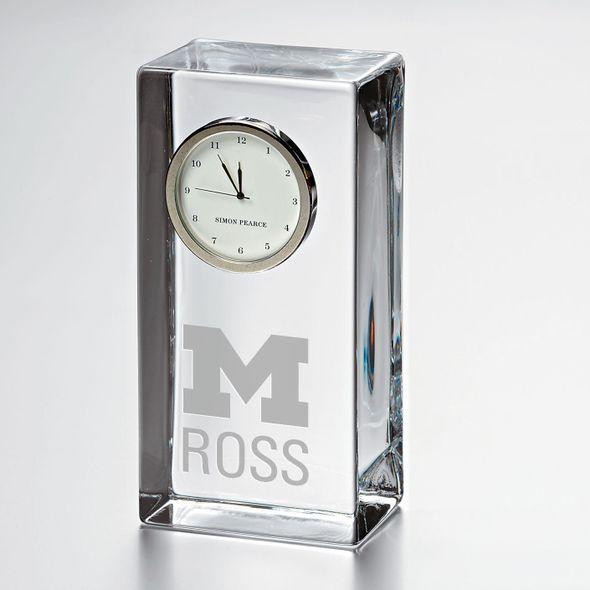 Michigan Ross Tall Glass Desk Clock by Simon Pearce - Image 1