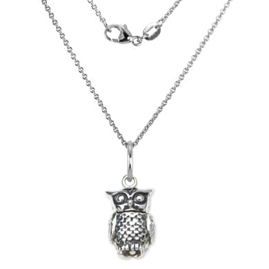 Chi Omega Sterling Silver Necklace with Owl Charm