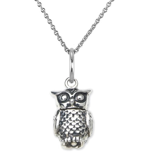 Chi Omega Sterling Silver Necklace with Owl Charm - Image 2