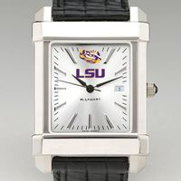 LSU Men's Collegiate Watch with Leather Strap