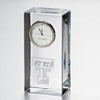 Texas Tech Tall Glass Desk Clock by Simon Pearce