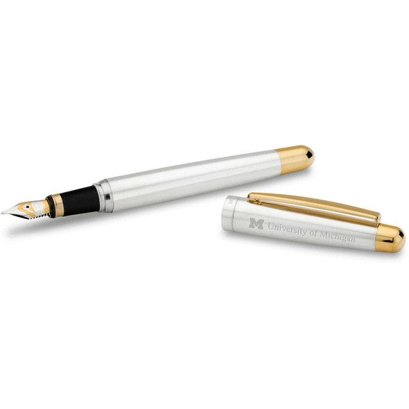 University of Michigan Fountain Pen in Sterling Silver with Gold Trim