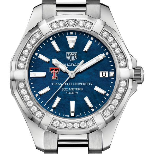 Texas Tech Women's TAG Heuer 35mm Steel Aquaracer with Blue Dial