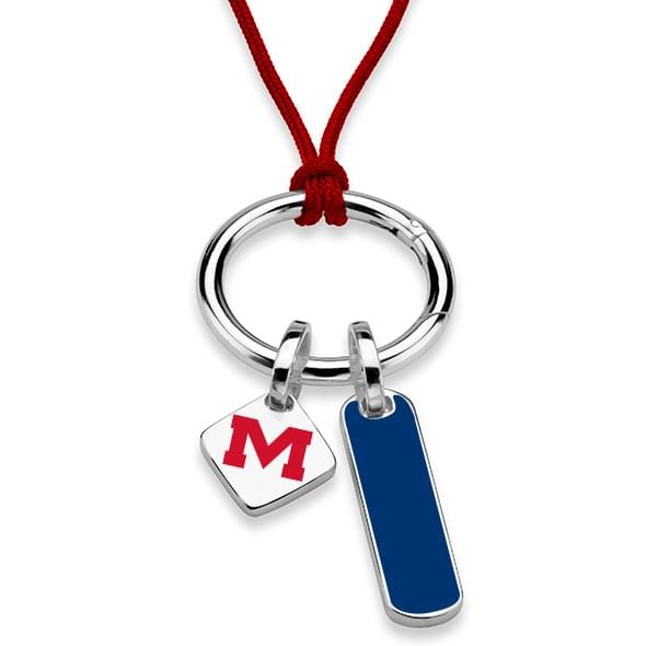Ole Miss Silk Necklace with Enamel Charm & Sterling Silver Tag