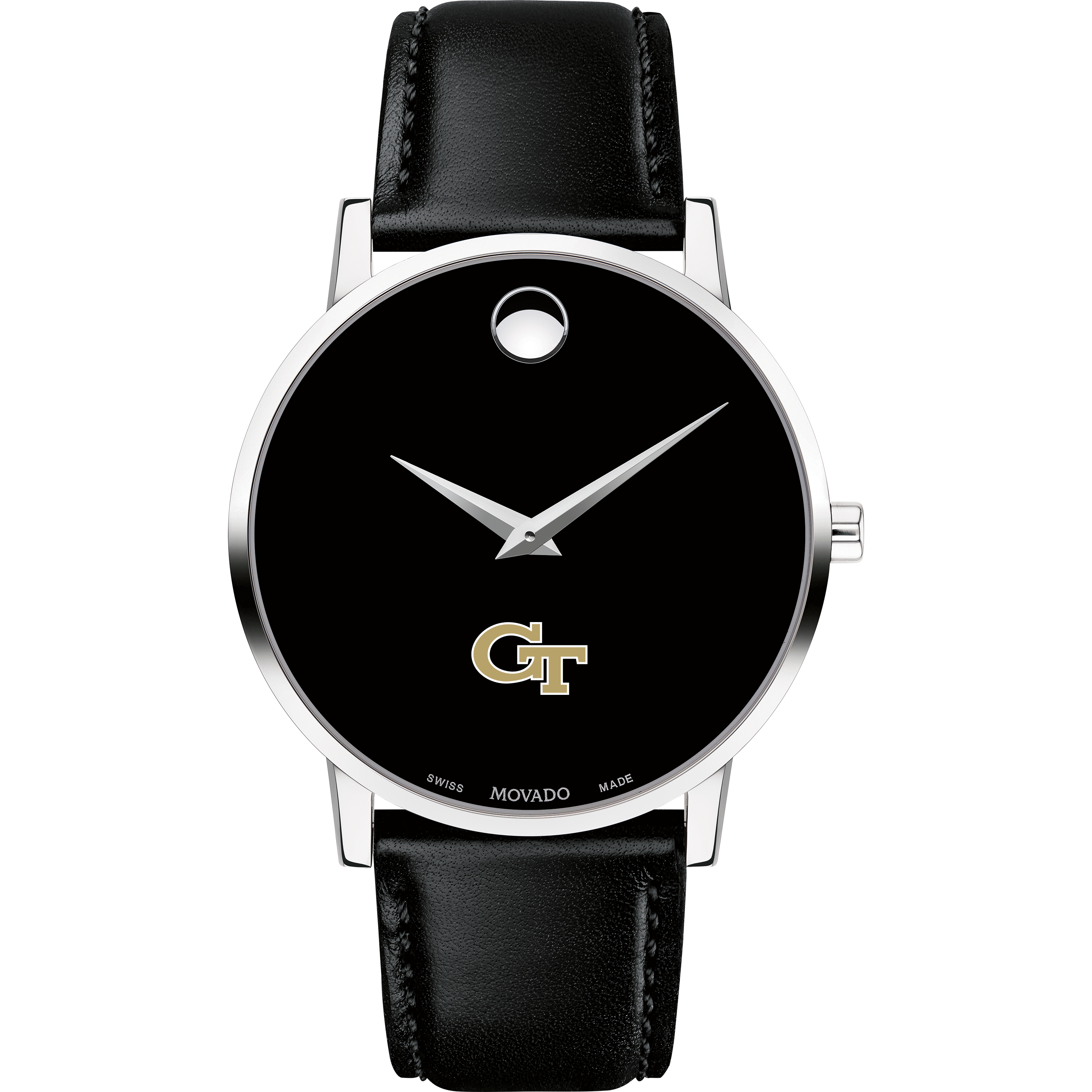 Georgia Tech Men's Movado Museum with Leather Strap - Image 2