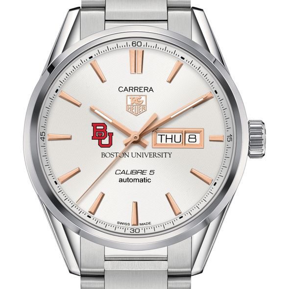 Boston University Men's TAG Heuer Day/Date Carrera with Silver Dial & Bracelet