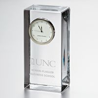 UNC Kenan-Flagler Tall Glass Desk Clock by Simon Pearce