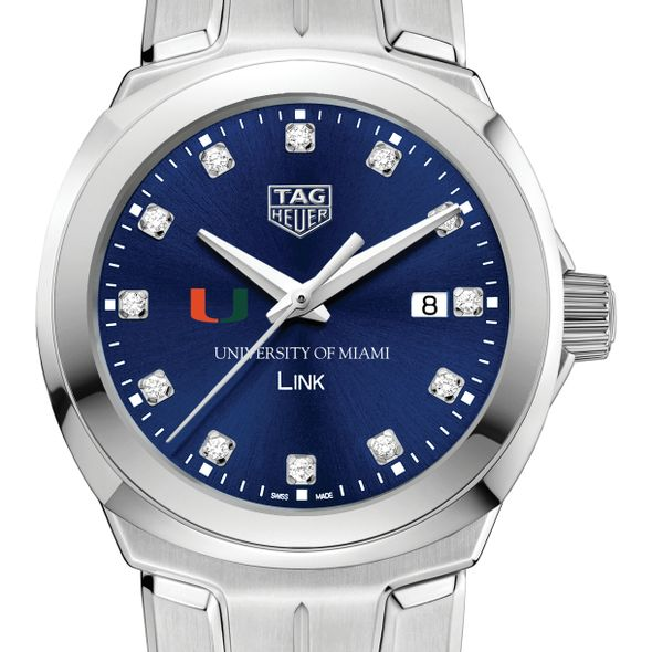 University of Miami Women's TAG Heuer Link with Blue Diamond Dial