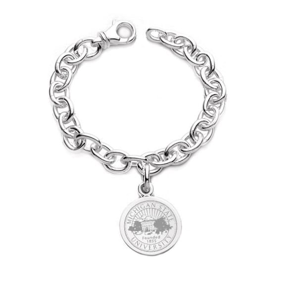 Michigan State Sterling Silver Charm Bracelet
