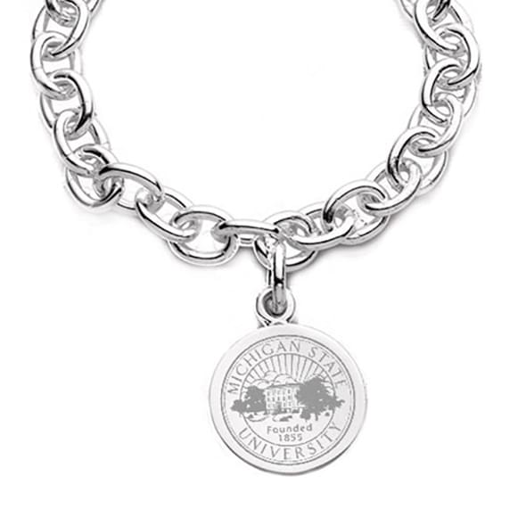 Michigan State Sterling Silver Charm Bracelet - Image 2