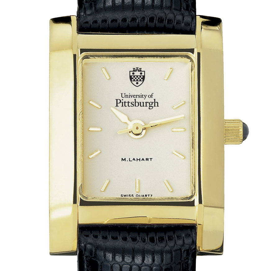 Pittsuburgh Women's Gold Quad Watch with Leather Strap