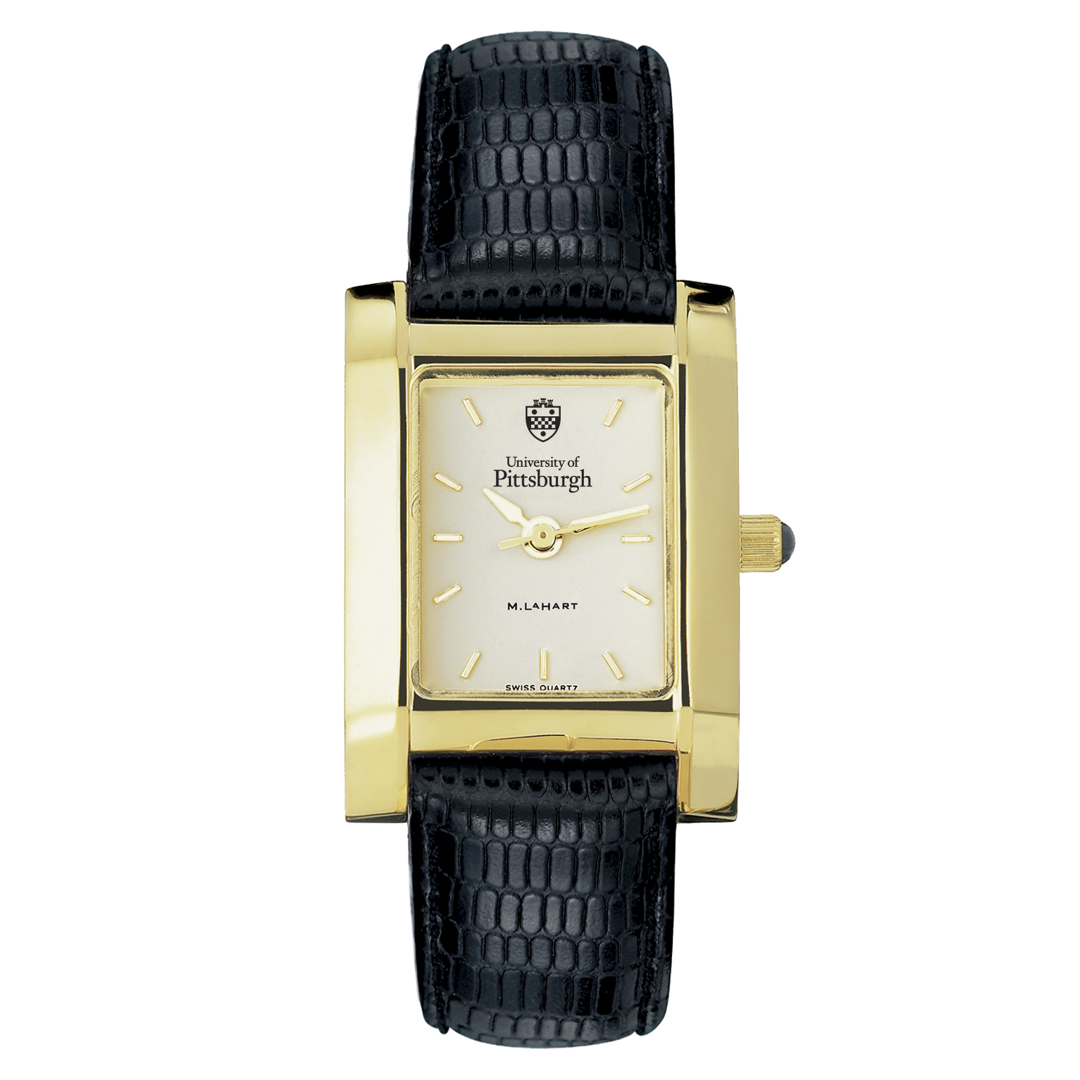 Pittsuburgh Women's Gold Quad Watch with Leather Strap - Image 2