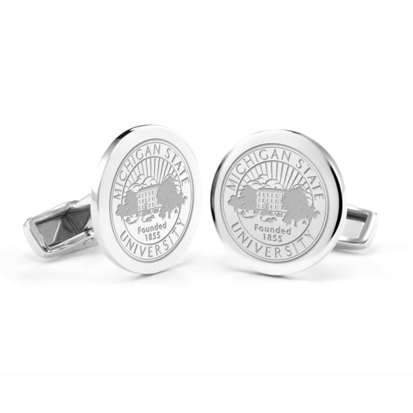 Michigan State University Cufflinks in Sterling Silver - Image 1