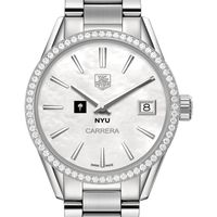 New York University Women's TAG Heuer Steel Carrera with MOP Dial & Diamond Bezel