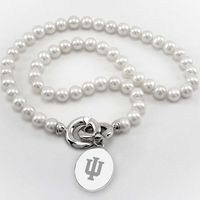 Indiana University Pearl Necklace with Sterling Silver Charm