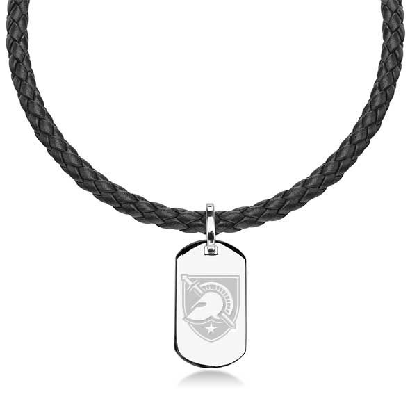 US Military Academy Leather Necklace with Sterling Dog Tag