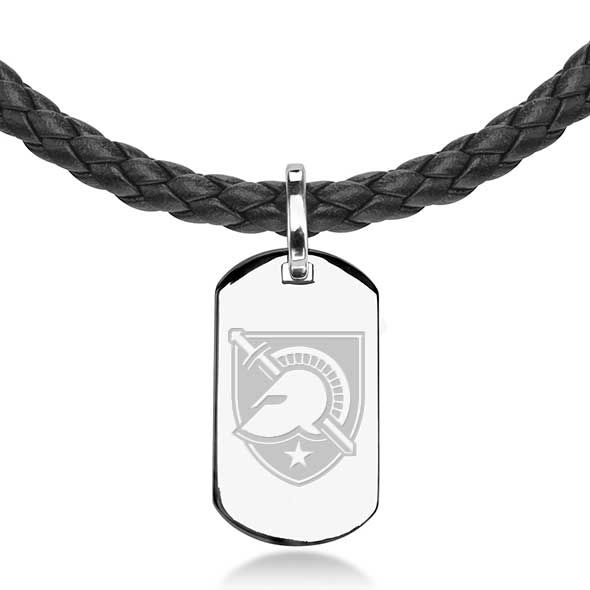US Military Academy Leather Necklace with Sterling Dog Tag - Image 2