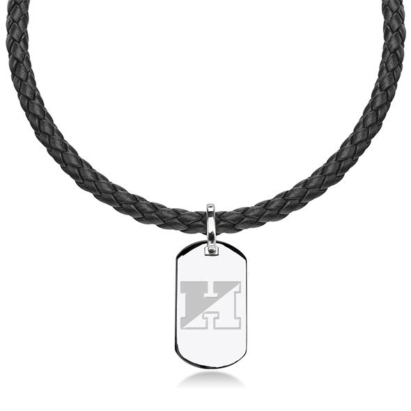 Johns Hopkins University Leather Necklace with Sterling Dog Tag