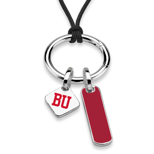 Boston University Silk Necklace with Enamel Charm & Sterling Silver Tag