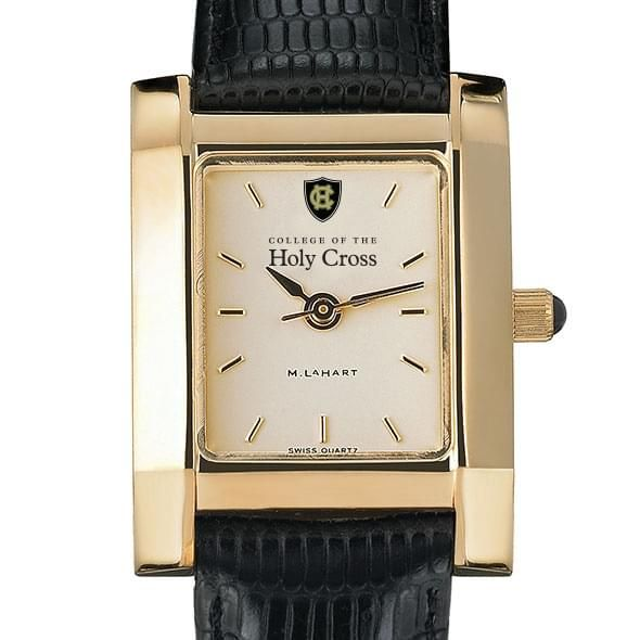 Holy Cross Women's Gold Quad Watch with Leather Strap